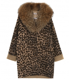 LEOPARD PRINT COAT WITH NECK FUR