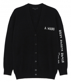LOGO EMBROIDERED V-NECK CARDIGAN