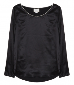 SALES - SATIN BLOUSE FT CRYSTAL NECKLINE DETAILING