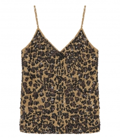 CLOTHES - LEOPARD PRINT FULL SEQUINS TOP