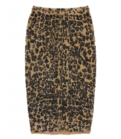 SKIRTS - LEOPARD PRINT FULL SEQUINS MIDI SKIRT