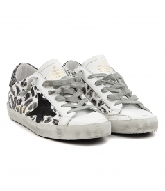 SUPERSTAR SNEAKERS IN ANIMAL PRINT FT GLITTER DETAILING