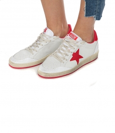 BALL STAR SNEAKERS IN WHITE FT STRAWBERRY PINK DETAILS