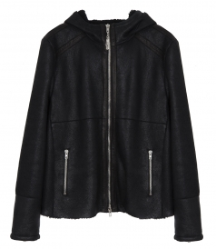 SHEARLING HOODIE LEATHER JACKET