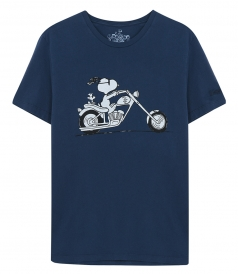 CREW NECK - SNOOPY ON A MOTORCYCLE T-SHIRT