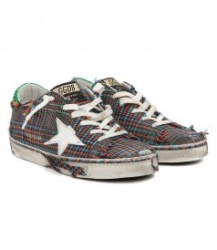 MULTICOLORED CHECKED DISTRESSED SUPERSTAR SNEAKERS