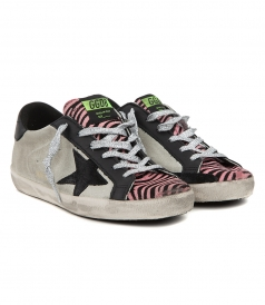 SHOES - SUPERSTAR SNEAKERS IN GREY SUEDE FT PINK ZEBRA PRINT TONGUE