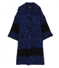 ANIMALIER HOODED WOOL KNIT COAT