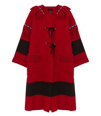 ALANUI - OVERSIZED EMBROIDERED KNIT HOODED COAT FT FRINGE DETAILS