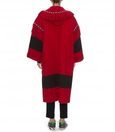 OVERSIZED EMBROIDERED KNIT HOODED COAT FT FRINGE DETAILS