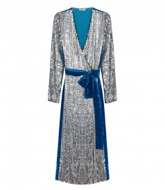 CLOTHES - SEQUIN & VELVET ROBE DRESS