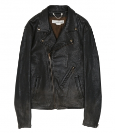 CLOTHES - OFF-CENTRE ZIPPED BIKER JACKET