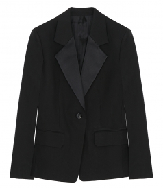 HELMUT LANG - SHINY LAPEL CANVAS BLAZER