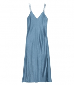 SATEEN DOUBLE STRAP SLIP DRESS