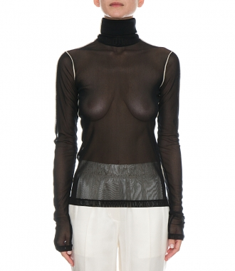 ROLL NECK SHEER TUILE TOP