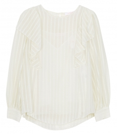 CLOTHES - STRIPE RUFFLE BLOUSE
