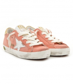 GOLDEN GOOSE  - SUPERSTAR SNEAKERS IN PEACH SUEDE