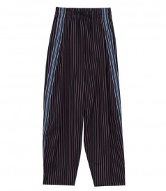 PANTS - PINSTRIPE WIDE-LEG CREPE TROUSERS