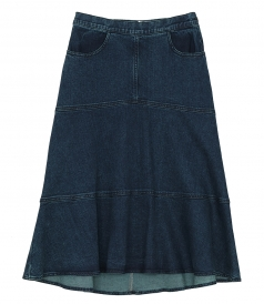 SKIRTS - FLARED DENIM MIDI SKIRT
