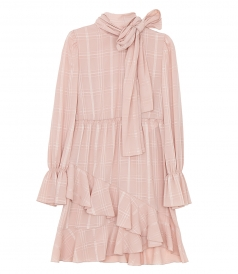SEE BY CHLOE - CHECKED HIGH NECK RUFFLE DRESS