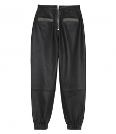 PANTS - LEATHER SWEATPANTS FT FRONT ZIPPER