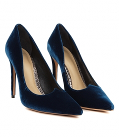 VANNYA BLUE VELVET PUMPS