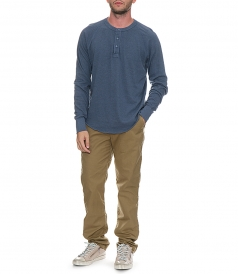 LONG SLEEVE HEAVY HEATHER JERSEY HENLEY