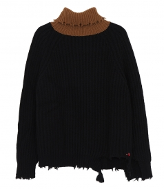 CASHMERE KNIT FT CONTRAST CAMEL NECK