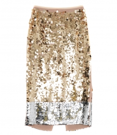 CLOTHES - GOLD TONED SEQUINNED MIDI SKIRT