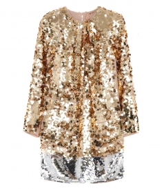 GOLD TONED SEQUINNED MINI DRESS