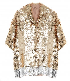 CLOTHES - GOLD TONED SEQUINNED SHIRT