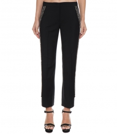 MOHAIR-WOOL BLEND SIDE EMBELLISHED PANTS