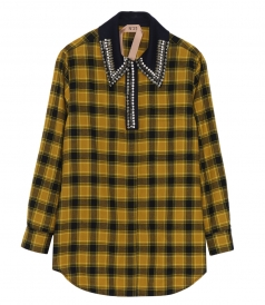 CLOTHES - CRYSTAL-EMBELLISHED PLAID FLANNEL SHIRT