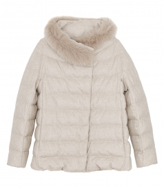 FOX FUR TRIM PADDED DOWN JACKET