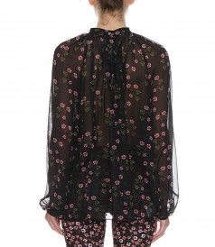 FLORAL PRINT BAND COLLAR BLOUSE