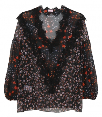 GIAMBA BY GIAMBATTISTA VALLI - FLORAL PRINT FT LACE DETALING BLOUSE