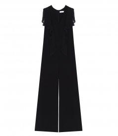 JUMPSUITS - LACE TRIM CREPE JUMPSUIT