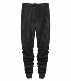 STRETCH LEATHER PANT WITH DETAIL