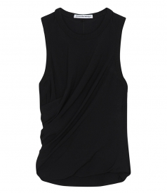 T BY ALEXANDER WANG - TWISTED CREPE TOP WITH DETAIL