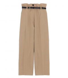 PAPER BAG WOOL CROPPED PANT