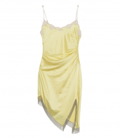 ALEXANDER WANG - SLIP DRESS WITH LACE NECKLACE