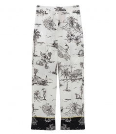 PANTS - BLACK SILK PANTS WITH A CUBA-INSPIRED PRINT