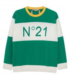 KNITWEAR - COLOUR-BLOCK VIRGIN WOOL LOGO SWEATER