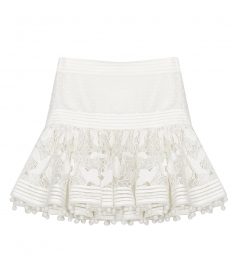 ZIMMERMANN - Corsage pompom-embellished guipure lace and Swiss dot-tulle mini