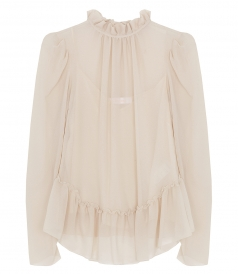 CLOTHES - SHEER RUFFLE TRIM BLOUSE
