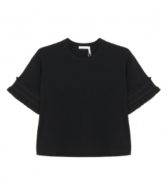 SEE BY CHLOE - RUFFLE SLEEVE CROPPED T-SHIRT