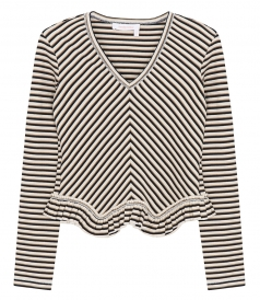 TOPS - CHEVERON STRIPE PEPLUM TOP