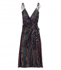 CLOTHES - METALLIC STRIPED JACQUARD WRAP DRESS