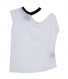 T-SHIRTS - RIB NECK CUT OUT TEE