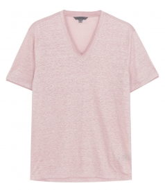 JUST IN - SHORT SLV V NECK WITH JERSEY DETAIL